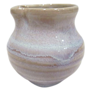 Small Clay Glazed Pitcher Light Beige & Blue
