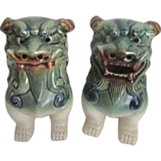 "Pair of Ceramic Chinese ""Temple"" Dogs (Foo Dogs)"