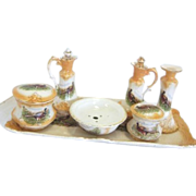Antique Victorian 6 Piece Ceramic Cruet Set on Tray with Ring Necked Pheasant