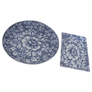 Pair of Japanese Blue & White Porcelain Plates with Peonies