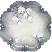 Antique Prussian Porcelain Plate with Tiffany Finish