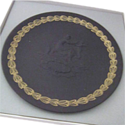 "Black Basalt Wedgwood Coupe Shape Plate ""Mother"""