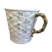 Belleek Ireland Shamrock Basket Weave Mug