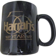Harrah's Black Coffee Cup 50th Anniversary 1987