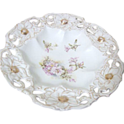 Victorian Serving Bowl with Hand Painted Flowers and Cut Out Edges