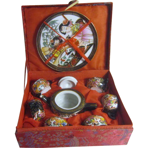 miniature chinese tea set in brocade covered box from somethingwonderful on ruby lane. Black Bedroom Furniture Sets. Home Design Ideas