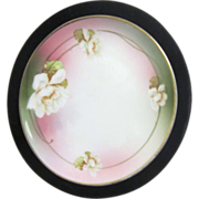 Austrian Shallow Bowl with White Wild Roses and Gold Trim