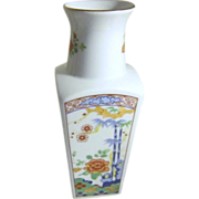 Japanese Hand Crafted Imari Ware Square Porcelain Vase