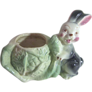 Ceramic Rabbit with Lettuce Planter