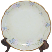 Old Gold Edged Plate with Blue Flowers from Bavaria