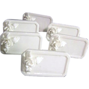 Set of 6 White Bone China Dinner Name Plates with Applied Roses