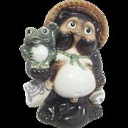 """Japanese Tanuki """"Raccoon/Dog"""" Holding Happy Frog"""