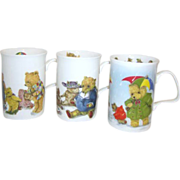 Set of 4 Fine Bone China Teddy Bear Mugs Made in England