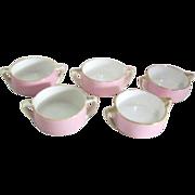 Set of 5 Double Handled Handpainted Pink Porcelain Individual Salt Cellars