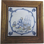 Wood Framed Hand Painted Tile from The Netherlands