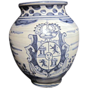 Blue & white Pottery Vase Signed