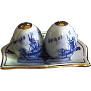 Set of Delft Blue and White Salt & Pepper Shakers on Tray with Gold Trim