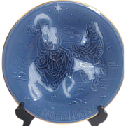 Blue 1977 Christmas Plate by Heinrich Porzellan (Porcelain) Flight to Egypt