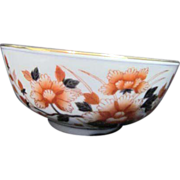 Porcelain Bowl with Orange and Black Floral Bouquet Made in Hong King