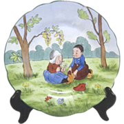 """Dresden """"RL"""" Plate of Dutch Boy and Girl with Daisy"""