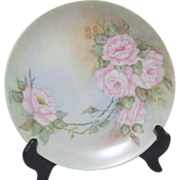 Signed M.E. Wynne Plate with Pink Roses from Germany