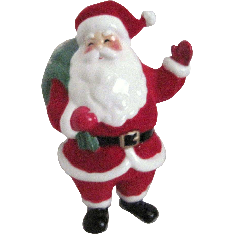 Bag Of Toys : Ceramic standing santa with red flocked suit green bag of