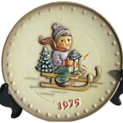Hummel 1975 Fifth Annual Plate Boy on Sled with Lantern