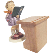 """Hummel Figurine """"The Poet"""" Small Boy with Wooden Stand"""