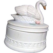 Porcelain Round Matte Finish Box with Swan Sculpture on Lid