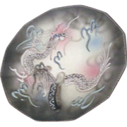 Japanese Slipware Dragon in clouds Plate with Beaded Rim