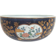 Japanese Porcelain Bowl with Chrysanthemums in Wooden Box