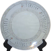 Japanese Plate with Emulated Characters on Grey Background with Decorative Crazing