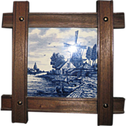 Framed Tile of Delft Blue & White Windmill and Boat Scene