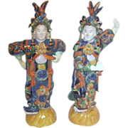 Pair of Old Asian Dancers Clay and Glazed Finishes