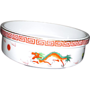 Heavy Ceramic Serving Bowl with Two Dragons Chasing Pearl of Wisdom