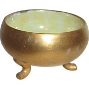 Gold Exterior Footed Salt Cellar with Yellow Luster Interior