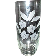 "9"" High Crystal Vase with Acid Etched Flower Design"