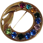Multi-Colored Rhinestones in Circlet Brooch Signed