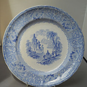 "T. J. @ J. Mayer blue and white transfer ""Rhone Scenery"" plate, c. 1843-55"