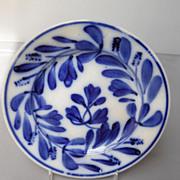"""Antique Flow Blue """"Turkey Feather"""" Plate, c. 1900"""