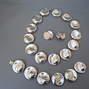 Smashing Mexican Sterling set: necklace, bracelet, earrings, pre-eagle