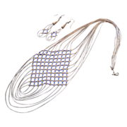 Navajo Liquid Silver and Lapis Bib Necklace and Earring Set, 80's