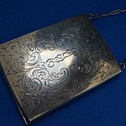 Lovely Engraved Sterling Reticule or Compact, c.  1935 - Red Tag Sale Item