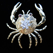 14 kt Yellow Gold  and Diamond Crab Pin / Brooch