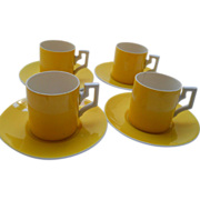 Set of 4 yellow Czechoslovakian demitasse. 20's