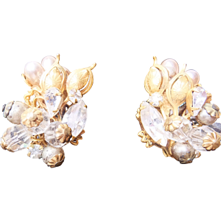 Stunning Robert Baroque Clip earrings, c. late 40's