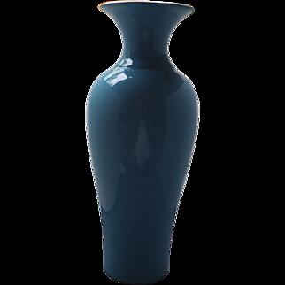 Elegant Very Tall Cased blue Glass Vase