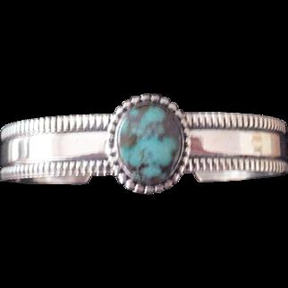 Navajo Spider Web Turquoise/Sterling Bracelet