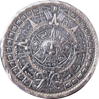 Mexican sterling Aztec Calendar pin or pendant