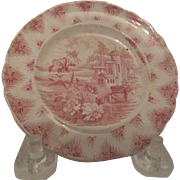 Charming Red Transfer Cup Plate, c. early 1800's